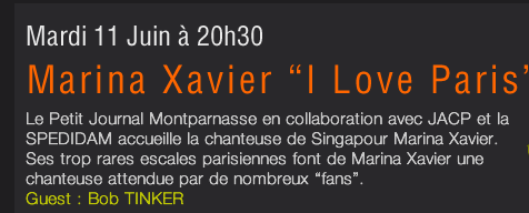 Marina Xavier au petit journal Montparnasse
