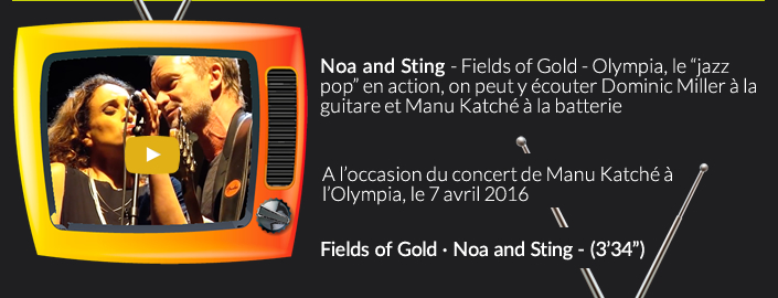 "Noa and Sting - Fields of Gold - Olympia, le ""jazz pop"" en action, on peut y écouter Dominic Miller à la guitare et Manu Katché à la batterie"